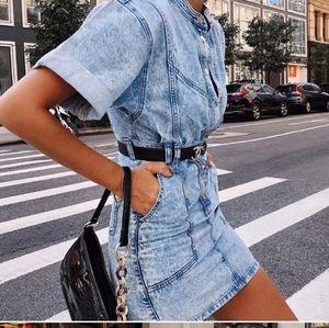 Topshop Short Sleeve Denim Dress Size 8